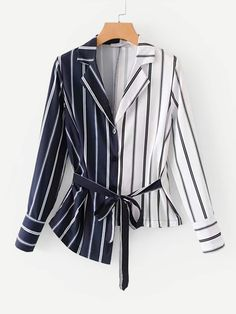 Casual Button and Belted Striped Asymmetrical Shirt Regular Fit Collar Long Sleeve Regular Sleeve Multicolor Regular Length Tie Front Asymmetric Hem Striped Shirt Teen Fashion Outfits, Hijab Fashion, Fashion News, Korean Fashion, Girl Fashion, Fashion Dresses, Fashion Design, Womens Fashion, Blouse Designs