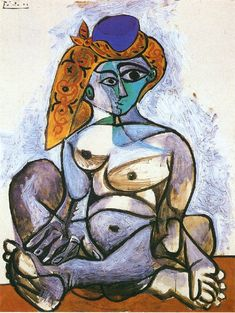 "cubism-art: "" Nude woman with turkish bonnet via Pablo Picasso Size: cm Medium: oil on canvas"" Picasso Cubism, Cubism Art, Picasso Paintings, Picasso Drawing, Cubist Movement, Art Du Monde, Georges Braque, Spanish Painters, Art Abstrait"
