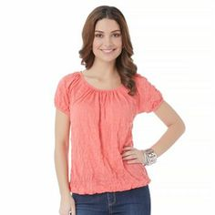 daisy fuentes Crinkle Smocked Top - Women's
