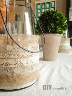 Great texture with burlap and lace wrapped jars | DIY beautify