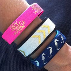 NEW! Fitbit Alta, Flex, Charge, ChargeHR Elastic Bands,Set/3: Hot Pink/Gold Coral (CO01), White/Gold Arrow Chev (AR02), Navy Seahorse (SH05) by BananaWindDesign on Etsy