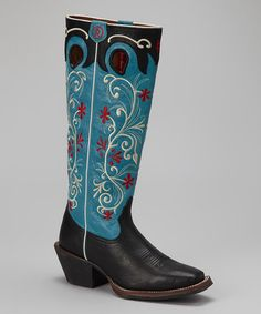 Take a look at this Black & Blue Tejas Cowboy Boot - Women by Tony Lama on #zulily today!