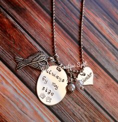 Personalized Hand Stamped Pet Memorial Necklace- Hand Stamped Pet Loss Necklace- In Memory of Cat or Dog Necklace on Etsy, $27.00
