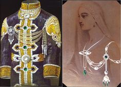 Right, a design for a jeweled tunic by Chaumet; Left a design for the Maharani of Indore, 1911.