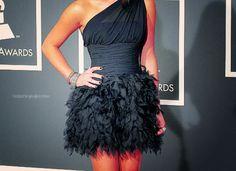 gorgeous black feathered dress