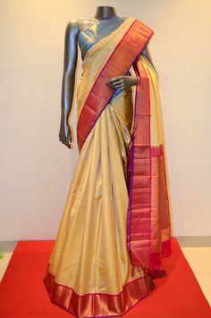 Gorgeous Kanjeevaram With Double Color Zair Border Product Code: SSJG06162  Online Shopping; http://www.janardhanasilk.com/Saree-Collections/Kanjeevaram-Silk-Saree/Hand-Woven-Elegant-Pure-Kanjeevaram-Silk?limit=25