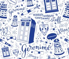 Doctor Who Full-Size Blue fabric by cherilyncolbert on Spoonflower - custom fabric