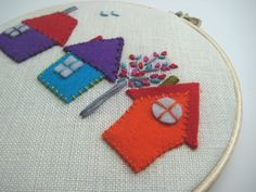 A Room with a View  felt houses - hand embroidered details by mlmxoxo