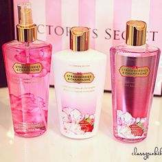 I miss this lotion. Candy Perfume, Perfume Bottles, Strawberry Champagne, Cosmetics & Fragrance, Smell Good, Lotion, The Secret, Victoria Secret, Girly