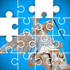 Angel Sword Statue Jigsaw Puzzle, 48 Piece Classic. Stone statue of an angel with metal sword. blue