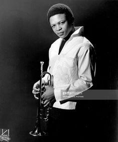 Jazz trumpeter Hugh Masekela poses for a portrait in circa 1967 in New York City, New York. Hugh Masekela, All That Jazz, Trumpet, New York City, Legends, Dads, Poses, Stock Photos, Black And White