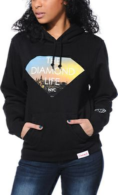 7a6384b3705320 Get ultimate comfort while reppin  the Big Apple in the Diamond Life NYC  Black pullover hoodie from Diamond Supply Co. The thick construction of  this hooded ...