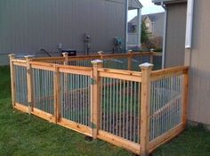 Cedar and metal fence