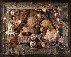 Photo from Art Doll Quarterly 2015 Fall issue. Rucus Studio's Pumpkin Society of the Upper Crust. http://stampington.com/art-d…/Art-Doll-Quarterly-Autumn-2015