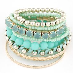 9pcs/set Designer Bohemian Candy Color Multilayer Beads Bracelet Bangles Jewelry For Women Gift Pulseras Mujer Wrist Band