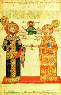 Alexios III of Trebizond (1338 - 1390) and his wife Theodora depicted in a decree (chrysobull) granted by him to the Dionysiou Monastery. She is wearing a long, red robe with embroidered golde double-headed eagles.