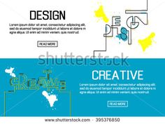 Flat designed banners for design and creative. vector