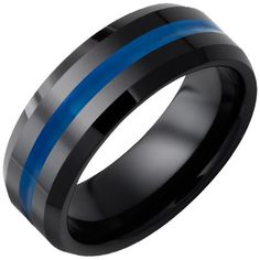 "Black Ceramic Beveled Edge Band with ""Thin Blue Line"" Inlay"
