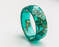 Deep Blue Resin Ring Men Women Ring Gold Flakes Big by daimblond