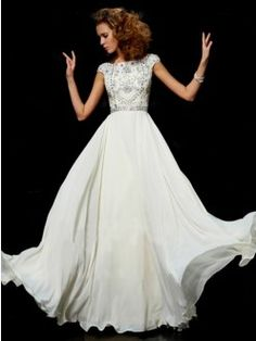 A-line/Princess High Neck Short Sleeves Chiffon Floor-length Beading Dress