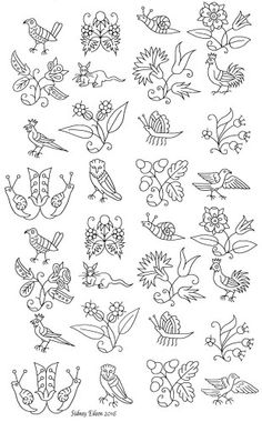 Freehand blackwork embroidery pattern, transcribed by Sidney Eileen, from an extant Elizabethan smock.  The design is repeated enough times to include variations of the figures found on both the front of the smock and the sleeve.