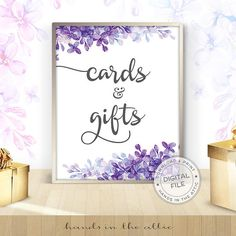 Wedding signs download for gift table Cards and gifts floral wedding signs ideas purple and lilac wedding DIGITAL download by HandsInTheAttic