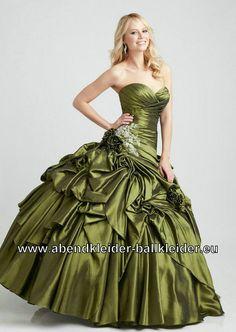 Elegantes Tafft Abendkleid Ballkleid Brautkleid in Dunkel Grün