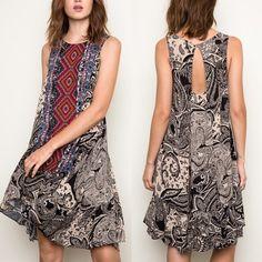 EMMA keyhole Tribal Tank Dress - BLACK mix Tribal Tank Dress - NAVY mix (only L) & black (all sizes)  Fabric 100% RAYON NO TRADE, PRICE FIRM Bellanblue Dresses