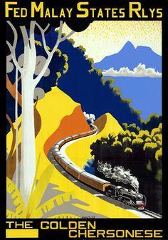 Vintage Malay Golden Chersonese Malaysia Railway Travel Poster.