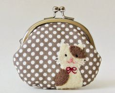 Coin purse brown and cream cat on mocha dots by oktak on Etsy, $33.00