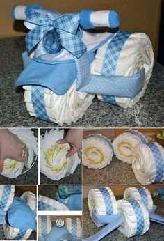 Baby Shower Gift Ideas ~ Such a cute diy baby gift idea. Bricolage Baby Shower, Cadeau Baby Shower, Idee Baby Shower, Bebe Shower, Baby Shower Crafts, Baby Shower Decorations For Boys, Baby Shower Diapers, Baby Crafts, Baby Boy Shower