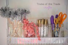 #crafts #organizing #ribbons #streamers #goldpens #scissors #supplies #jars #organized #thetidycorner