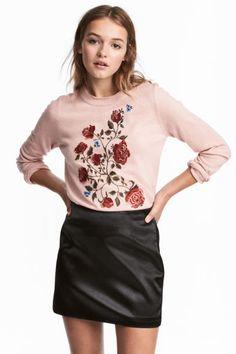 Джемпер с вышивкой - Розовая пудра - Женщины | H&M RU 1