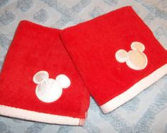 Red and White Mickey and Minnie Mouse Ears Silhouette Embroidered Applique Washcloth