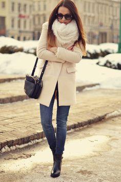 Sheinside Cream Wool Coat