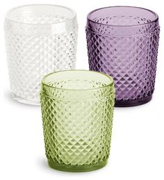 ♥Pressed Glass Purple Double Old Fashioned Glasses traditional cups and glassware