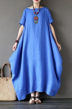 Blue Casual Linen Plus Size Summer Maxi Dresses 1640