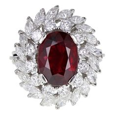 Oval No Heat Ruby Marquise Diamond Platinum Cluster Cocktail Ring 11 Marquise Cut Diamond, Diamond Cluster Ring, Diamond Cuts, Emerald Diamond, Ruby Ring Designs, Blood Ruby, Ruby Jewelry, Gemstone Jewelry, Diamond Jewelry