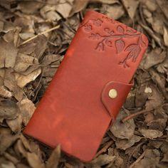 Vintage Pattern Handmade Genuine Leather Women's Wallet Checkbook Long Wallet Card Purse