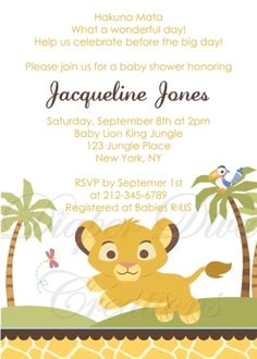 Lion King Baby Shower Invitation- Oh my goodness so cute! I'm definitely doing this
