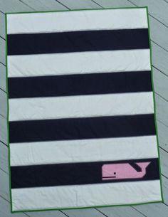 Blogger's Quilt Festival: Meet Murray the Whale (strips, stripes, applique, sailing, nautical, navy, white)