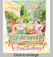 I Love Lucy Birthday Card Grape Stomping