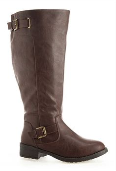 Brena Double Buckle Riding Boot Shop wide & extra wide width and calf boots  in sizes · Women's Knee High ...