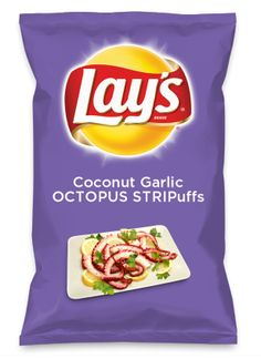 Wouldn't Coconut Garlic OCTOPUS STRIPuffs be yummy as a chip? Lay's Do Us A Flavor is back, and the search is on for the yummiest chip idea. Create one using your favorite flavors from around the country and you could win $1 million! https://www.dousaflavor.com See Rules.