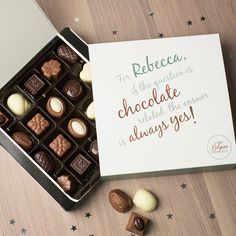 Personalised Belgian Chocolates - If The Question Is | GettingPersonal.co.uk