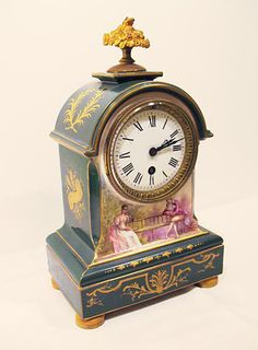 French Hand Painted Porcelain Clock. ca.1900.