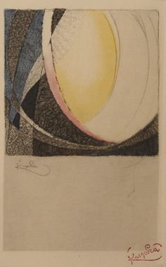 Frantisek Kupka  (1871 - 1957)  Untitled undated  colored etching Intaglio Printmaking, Collagraph, Elements And Principles, Elements Of Art, Frantisek Kupka, Abstract Words, Visual Diary, Art Series, Print Artist