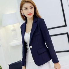 New Long sleeved Slim Women Blazers And Jackets Small Women Suit Korean Version (Gray/Blue/Wine Red/Navy blue) Ladies Blazer-in Blazers from Women's Clothing & Accessories on Aliexpress.com | Alibaba Group