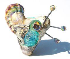 Sea Horse Heart Desert Serpent handmade lampwork bead by Genea