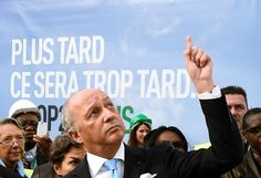 French Foreign minister and president of the COP21 Laurent Fabius visits the location of the upcoming COP21/CMP11 climate change talks in Le Bourget, near Paris, on November 8, 2015